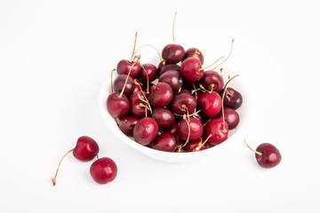 Bowl of Cherries on White Background