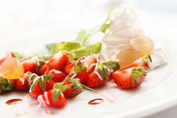 strawberries with sweet sauce