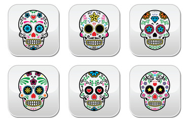 Mexican sugar skull, Dia de los Muertos buttons set