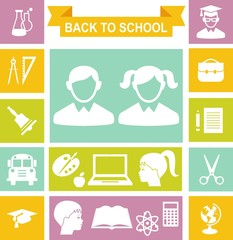 Set of education icons in flat colorful style