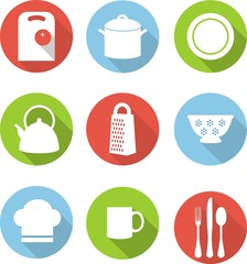 Set of kitchen utensils icons in flat style