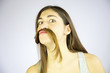 Funny girl doing moustache with long hair