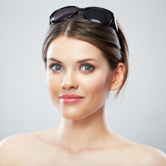 Smiling beautiful woman close up face portrait, sun glass.