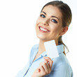 Toothy smiling business woman isolated portrait. Credit card.