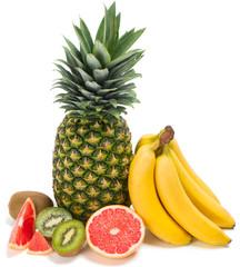 Mixed fruits on white