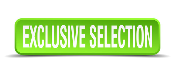 exclusive selection green 3d realistic square isolated button