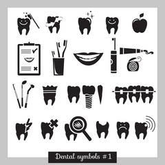 Set of dentistry symbols, part 1