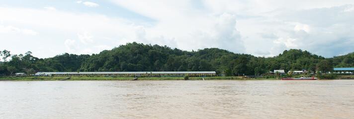Iban tribe longhouse in Sarawak