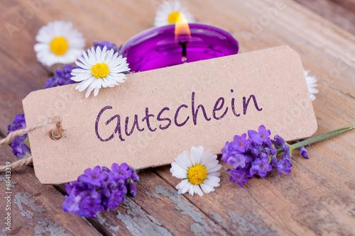 Leinwanddruck Bild Gutschein - Schild - Wellness