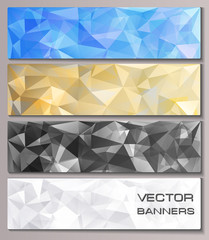 Set of banners with geometric pattern