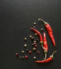 Spices on a blackboard