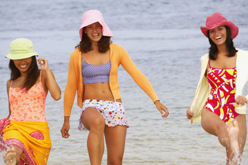 Three young women at beach