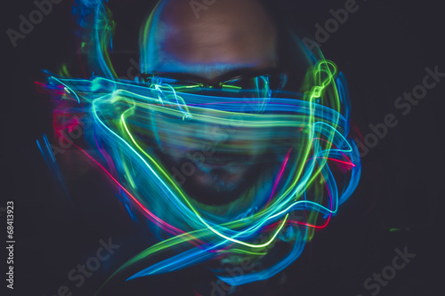 design effect lightpainting man with sunglasses and colored ligh © Fernando Cortés