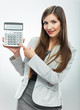Woman accountant show calculator. Young business woman.