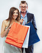 Man, woman couple shopping portrait. Shopping bags