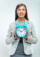 Business woman time concept portrait. White background
