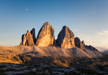 Panorama of Tre Cime at sunny sunset