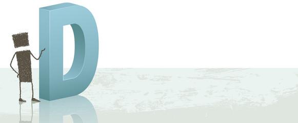 Drop cap_D. Illustration of a stick figure next to the letter D