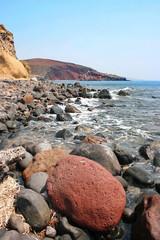 Santorini island, Greece: beautiful seascape of volcanic stones