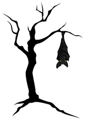 halloween theme bat on tree character