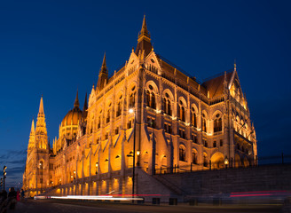 Evening view at the parliament in Budapest