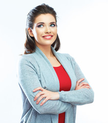 Young smiling woman portrait. Isolated