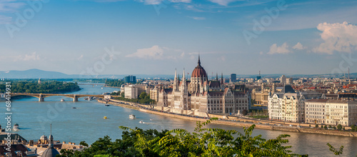 Panorama view at the parliament with Danube river in Budapest - 68414931