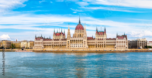 Poster Panorama view at the parliament in Budapest