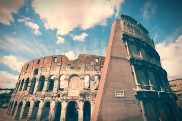 Colosseum, Rome. Cross processed filtered color tone.