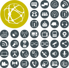 Media and communication icons set. Illustration eps10