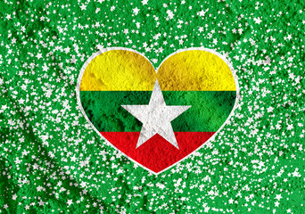 Union of Myanmar flag or Burma flag themes idea design on wall t