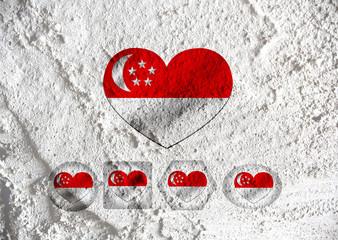 National flag of Singapore themes idea design on wall texture ba