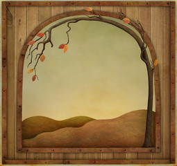 Autumn background with  wooden textured vintage frame