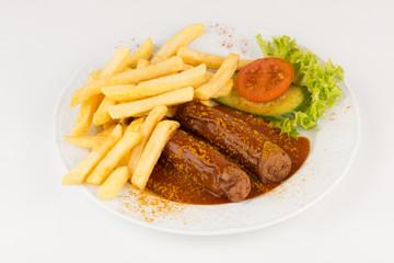 Currywurst mit Pommes