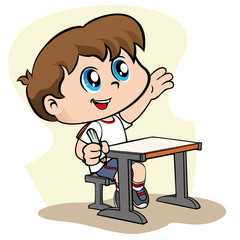 Child student raising his hand