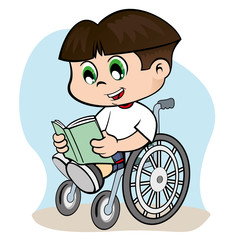 Boy in a wheelchair reading a book
