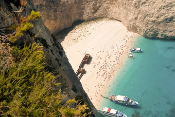 Top view of the Navagio beach with people