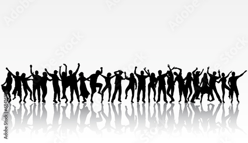 Dancing people silhouettes - 68416916