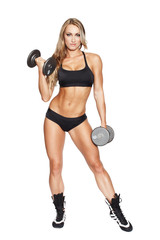 Woman exercise dumbbells