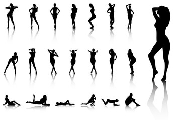Illustration of Set of sexy women silhouettes