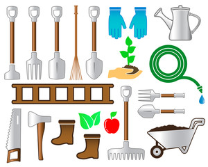 set colorful tools for gardening landscaping