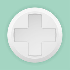 Close white pill with a white cross