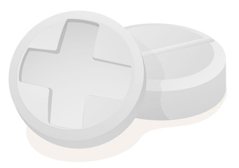 Close two white pills with a white cross