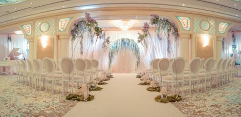 White wedding arch.