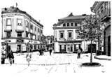 digital sketch vector black and white illustration of Uzhgorod c