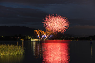 Fireworks on the lakefront of Travedona Monate, Lombardy