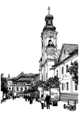 digital sketch vector black and white illustration of Uzhgorod c