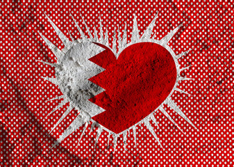 Bahrain flag themes idea design on wall texture background