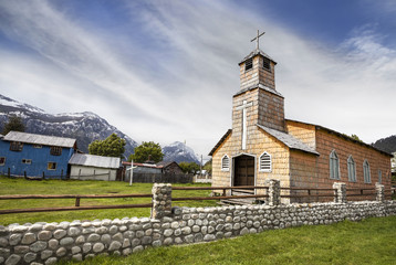Wooden church in Chilean countryside.