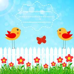spring garden vector